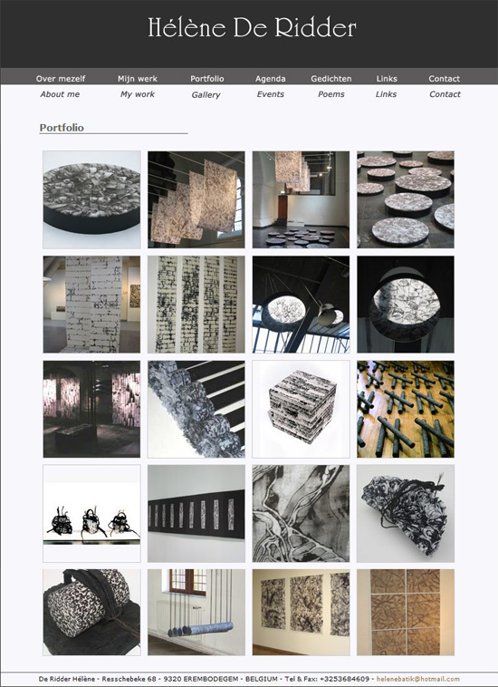 website portfolio artiest helene de ridder