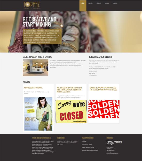 topaaz website homepage in WordPress