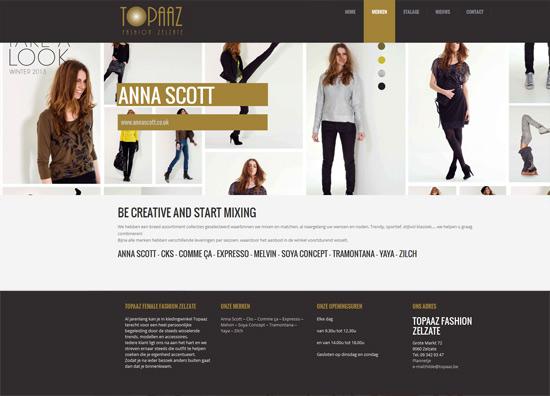 De merken pagina van Topaaz, een wordpress website
