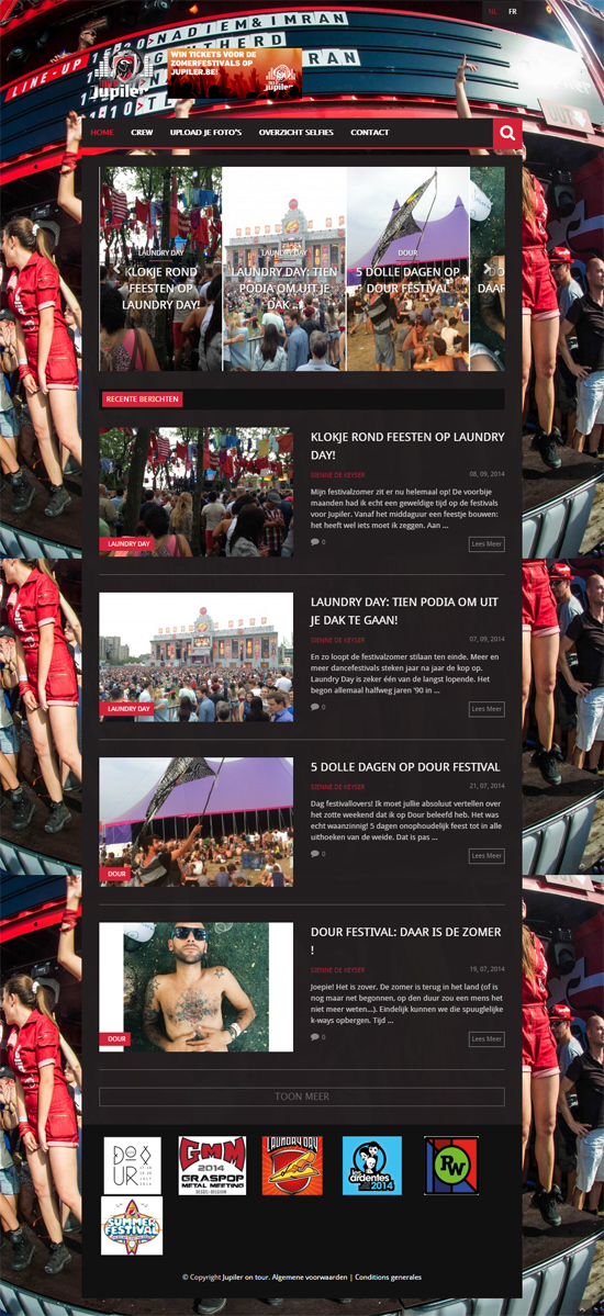 Jupiler festivalwebsite - wordpress